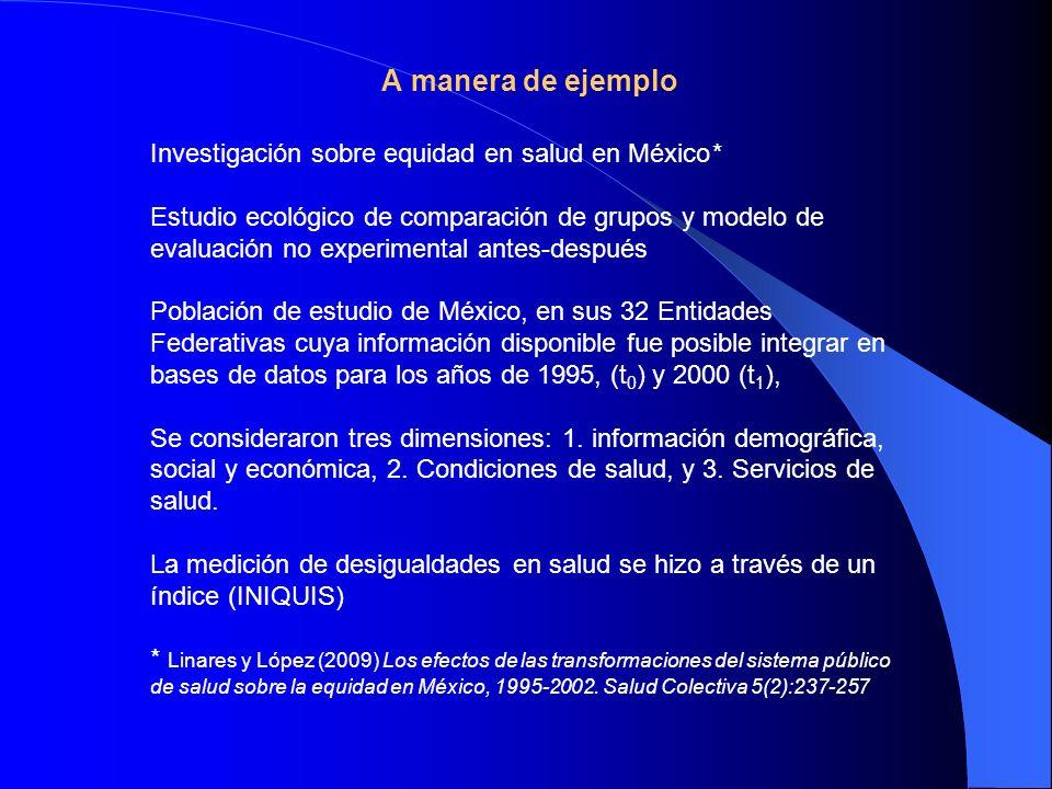 A manera de ejemplo Investigación sobre equidad en salud en México* Estudio ecológico de comparación de grupos y modelo de evaluación no experimental