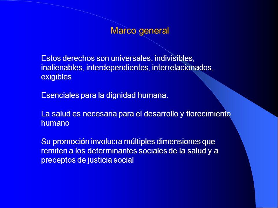 El derecho a la salud Se inscribe en la discusión mundial sobre los Derechos Económicos, Sociales, Culturales y Ambientales (DESCA) El gobierno mexicano lo suscribe en: La Declaración Universal de los Derechos Humanos (ONU, 1948), El Pacto Internacional de Derechos Económicos, Sociales y Culturales (1966) El Protocolo Adicional a la Convención Americana sobre Derechos Humanos en materia de Derechos Económicos, Sociales y Culturales, conocido como Protocolo de San Salvador, (OEA, 1988)
