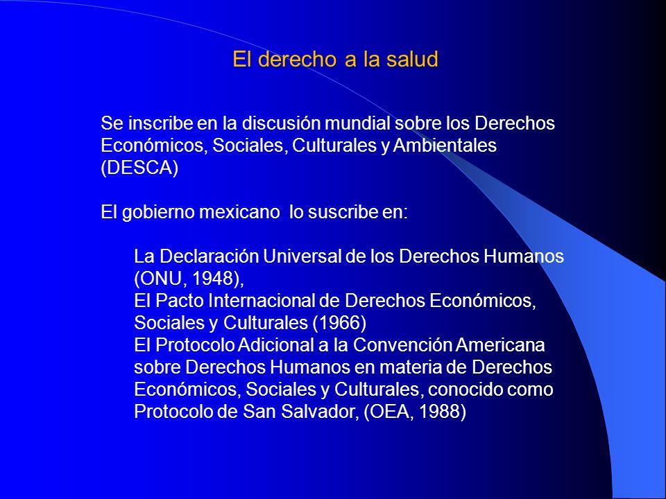 El derecho a la salud Se inscribe en la discusión mundial sobre los Derechos Económicos, Sociales, Culturales y Ambientales (DESCA) El gobierno mexica