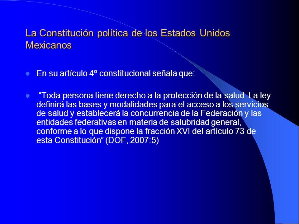 La Constitución política de los Estados Unidos Mexicanos En su artículo 4º constitucional señala que: Toda persona tiene derecho a la protección de la