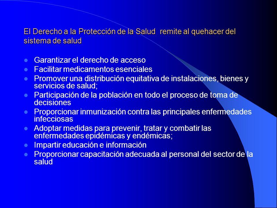 El Derecho a la Protección de la Salud remite al quehacer del sistema de salud Garantizar el derecho de acceso Facilitar medicamentos esenciales Promo