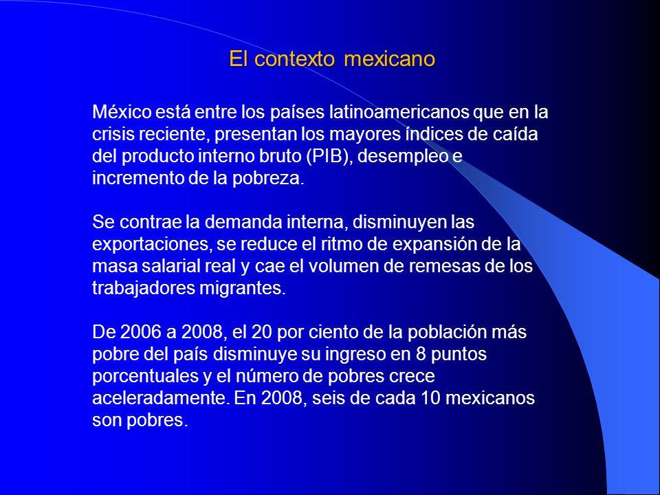 El contexto mexicano México está entre los países latinoamericanos que en la crisis reciente, presentan los mayores índices de caída del producto inte