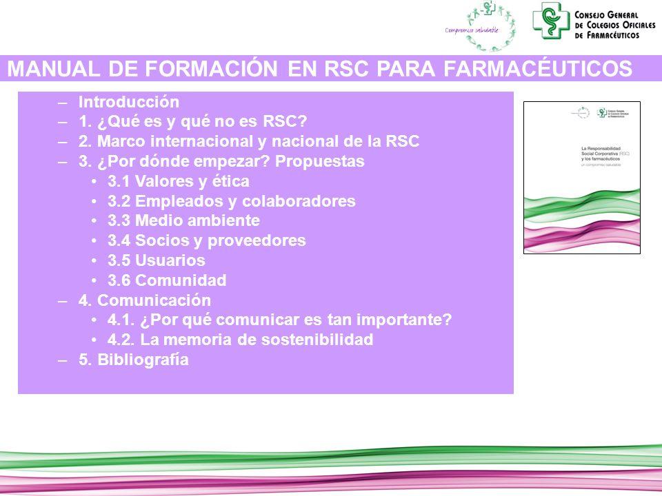 MANUAL DE FORMACIÓN EN RSC PARA FARMACÉUTICOS –Introducción –1.