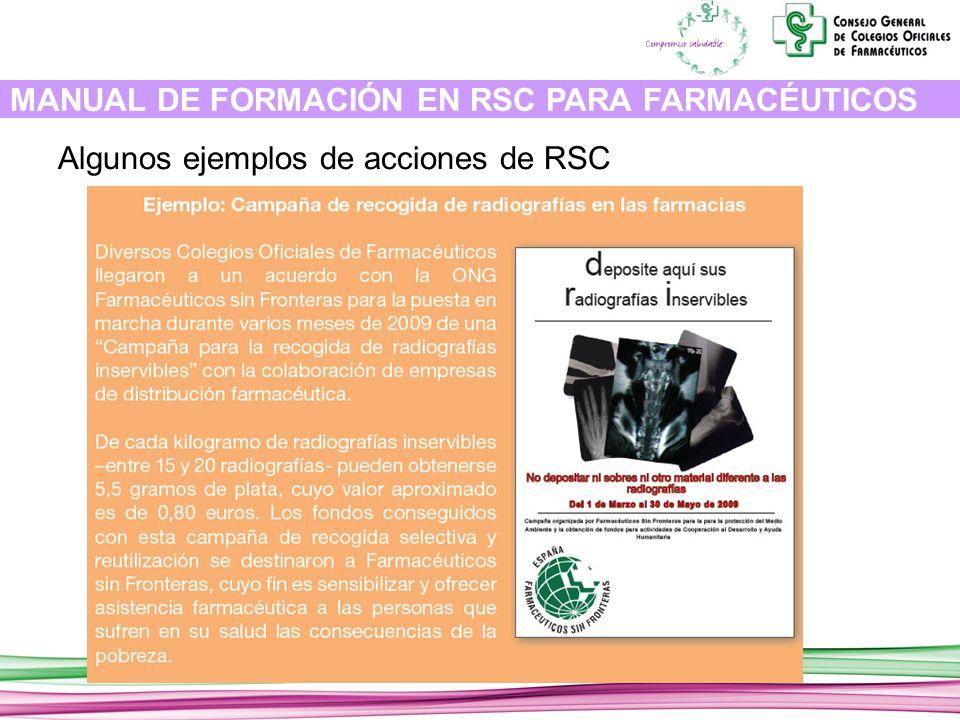 MANUAL DE FORMACIÓN EN RSC PARA FARMACÉUTICOS Algunos ejemplos de acciones de RSC