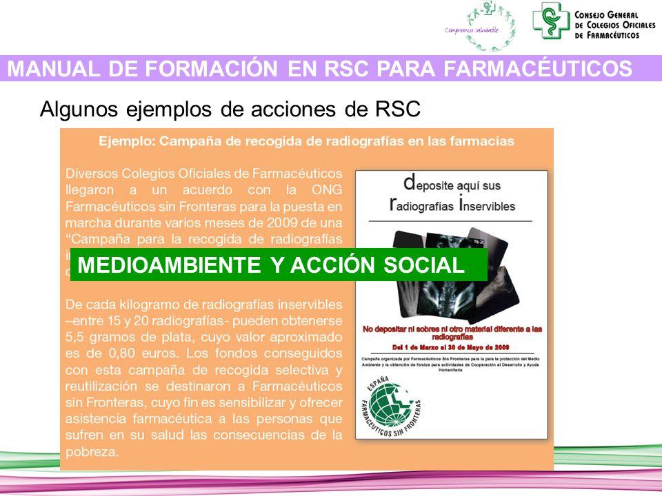 MANUAL DE FORMACIÓN EN RSC PARA FARMACÉUTICOS Algunos ejemplos de acciones de RSC MEDIOAMBIENTE Y ACCIÓN SOCIAL