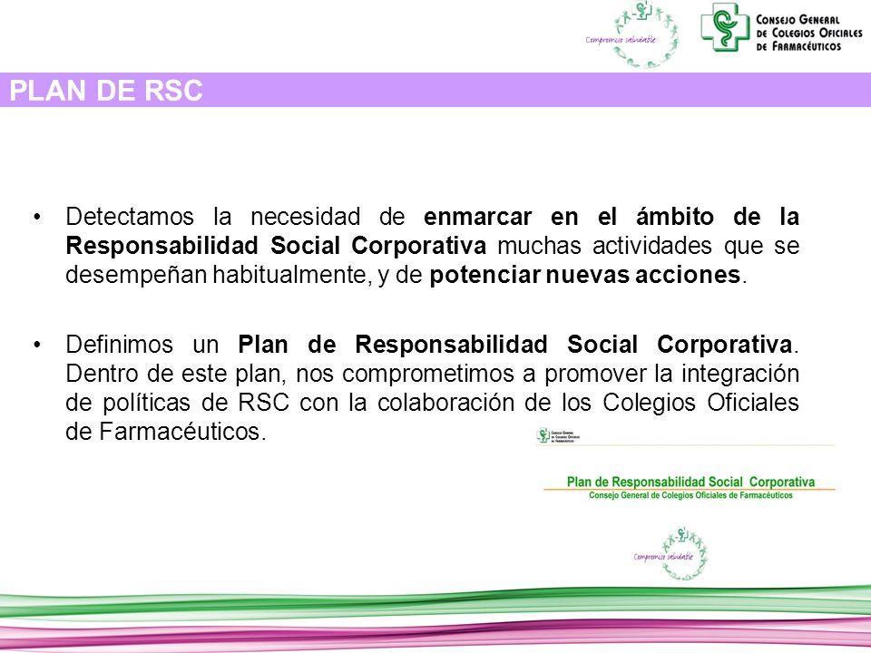 PLAN DE RSC Detectamos la necesidad de enmarcar en el ámbito de la Responsabilidad Social Corporativa muchas actividades que se desempeñan habitualmente, y de potenciar nuevas acciones.