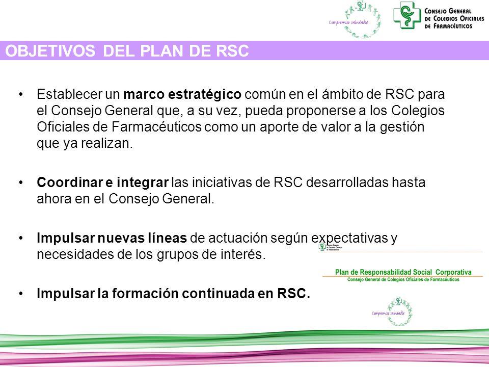 OBJETIVOS DEL PLAN DE RSC Establecer un marco estratégico común en el ámbito de RSC para el Consejo General que, a su vez, pueda proponerse a los Colegios Oficiales de Farmacéuticos como un aporte de valor a la gestión que ya realizan.