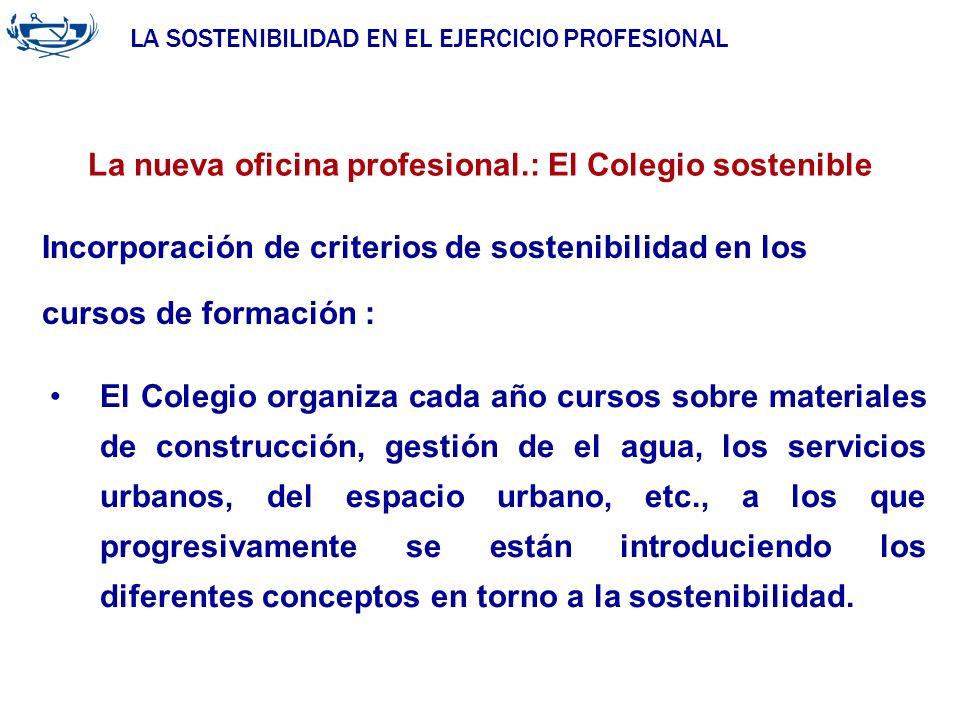LA SOSTENIBILIDAD EN EL EJERCICIO PROFESIONAL ACUERDO DE LA INGENIERÍA 29/06/2007 La nueva oficina profesional.: El Colegio sostenible El Colegio orga