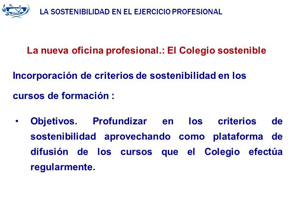 LA SOSTENIBILIDAD EN EL EJERCICIO PROFESIONAL ACUERDO DE LA INGENIERÍA 29/06/2007 La nueva oficina profesional.: El Colegio sostenible Objetivos. Prof