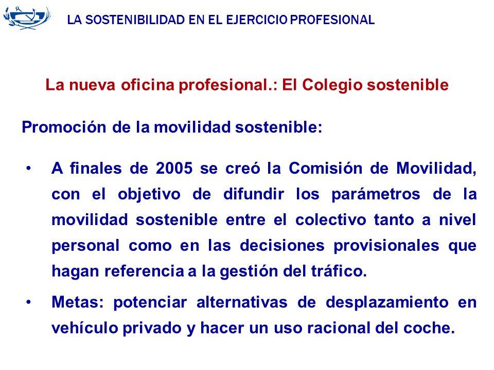 LA SOSTENIBILIDAD EN EL EJERCICIO PROFESIONAL ACUERDO DE LA INGENIERÍA 29/06/2007 La nueva oficina profesional.: El Colegio sostenible A finales de 20