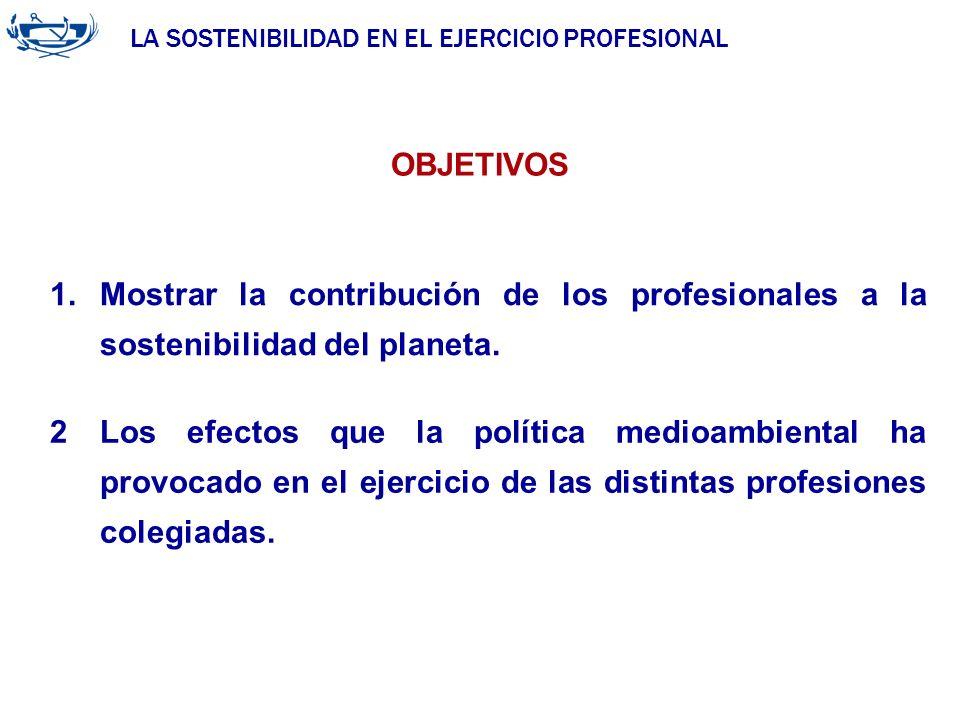 LA SOSTENIBILIDAD EN EL EJERCICIO PROFESIONAL ACUERDO DE LA INGENIERÍA 29/06/2007 1.Mostrar la contribución de los profesionales a la sostenibilidad d