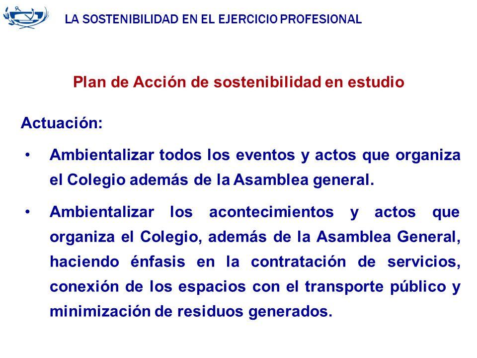 LA SOSTENIBILIDAD EN EL EJERCICIO PROFESIONAL ACUERDO DE LA INGENIERÍA 29/06/2007 Plan de Acción de sostenibilidad en estudio Actuación: Ambientalizar