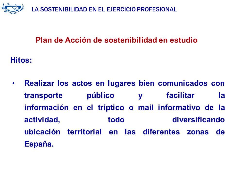 LA SOSTENIBILIDAD EN EL EJERCICIO PROFESIONAL ACUERDO DE LA INGENIERÍA 29/06/2007 Plan de Acción de sostenibilidad en estudio Hitos: Realizar los acto
