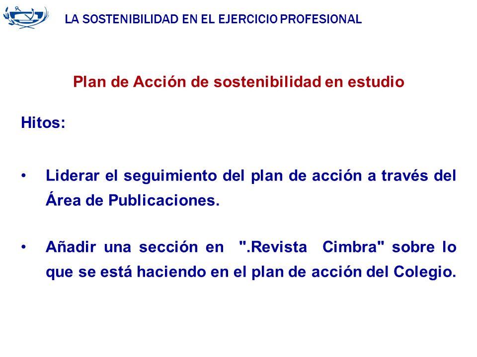 LA SOSTENIBILIDAD EN EL EJERCICIO PROFESIONAL ACUERDO DE LA INGENIERÍA 29/06/2007 Plan de Acción de sostenibilidad en estudio Hitos: Liderar el seguim