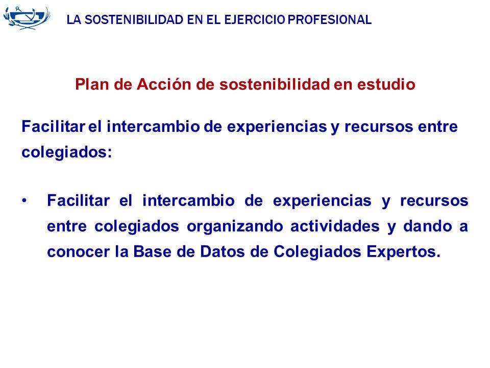 LA SOSTENIBILIDAD EN EL EJERCICIO PROFESIONAL ACUERDO DE LA INGENIERÍA 29/06/2007 Plan de Acción de sostenibilidad en estudio Facilitar el intercambio
