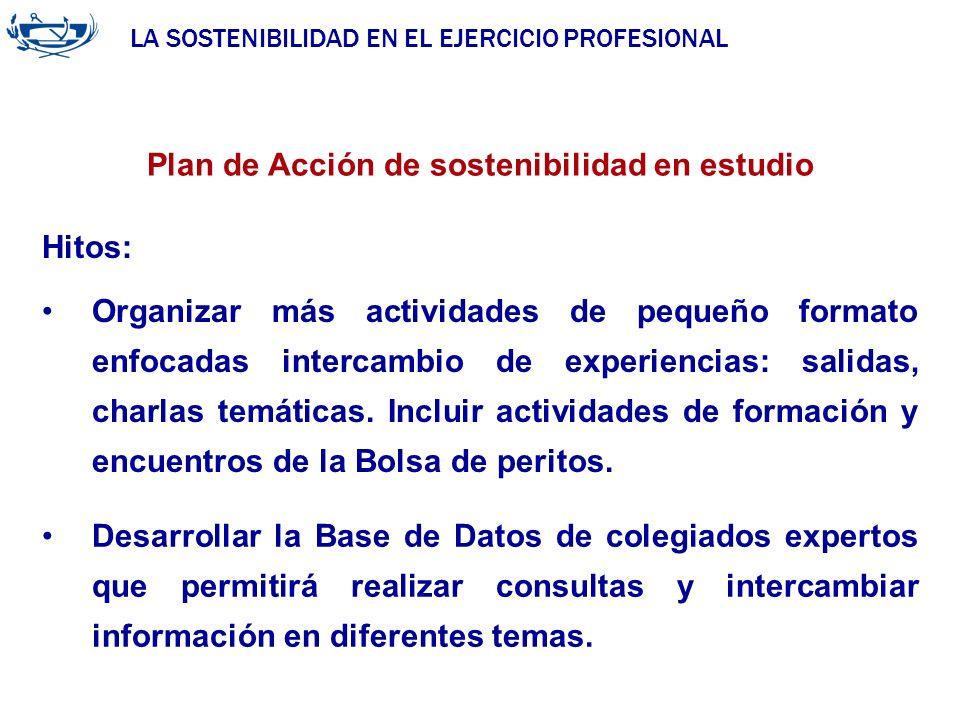 LA SOSTENIBILIDAD EN EL EJERCICIO PROFESIONAL ACUERDO DE LA INGENIERÍA 29/06/2007 Plan de Acción de sostenibilidad en estudio Hitos: Organizar más act