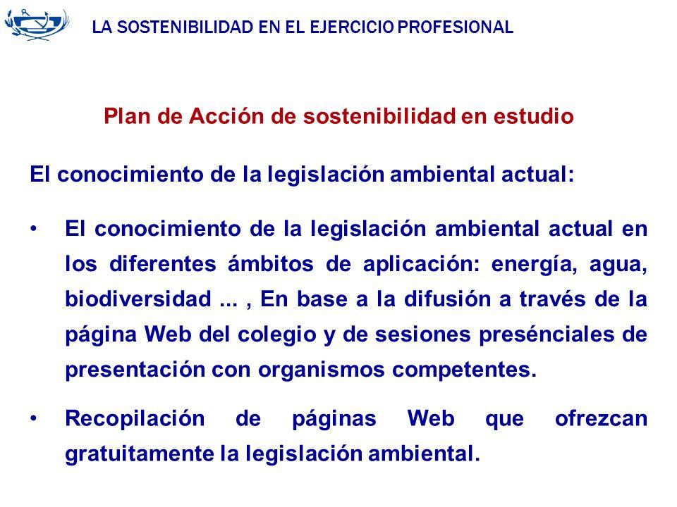 LA SOSTENIBILIDAD EN EL EJERCICIO PROFESIONAL ACUERDO DE LA INGENIERÍA 29/06/2007 Plan de Acción de sostenibilidad en estudio El conocimiento de la le