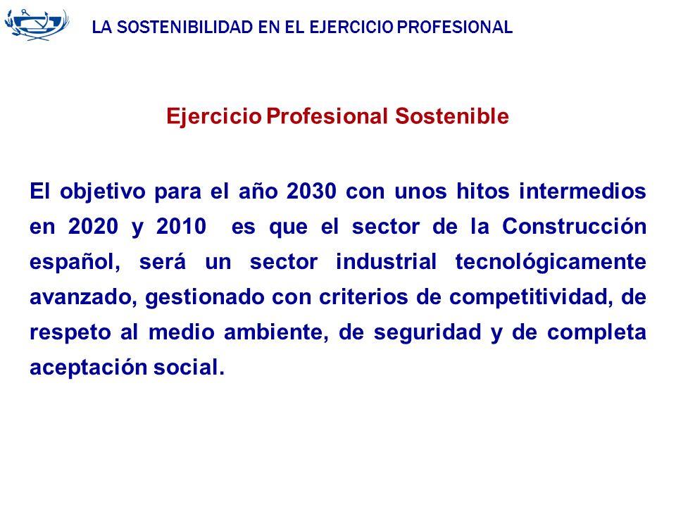 LA SOSTENIBILIDAD EN EL EJERCICIO PROFESIONAL ACUERDO DE LA INGENIERÍA 29/06/2007 Ejercicio Profesional Sostenible El objetivo para el año 2030 con un
