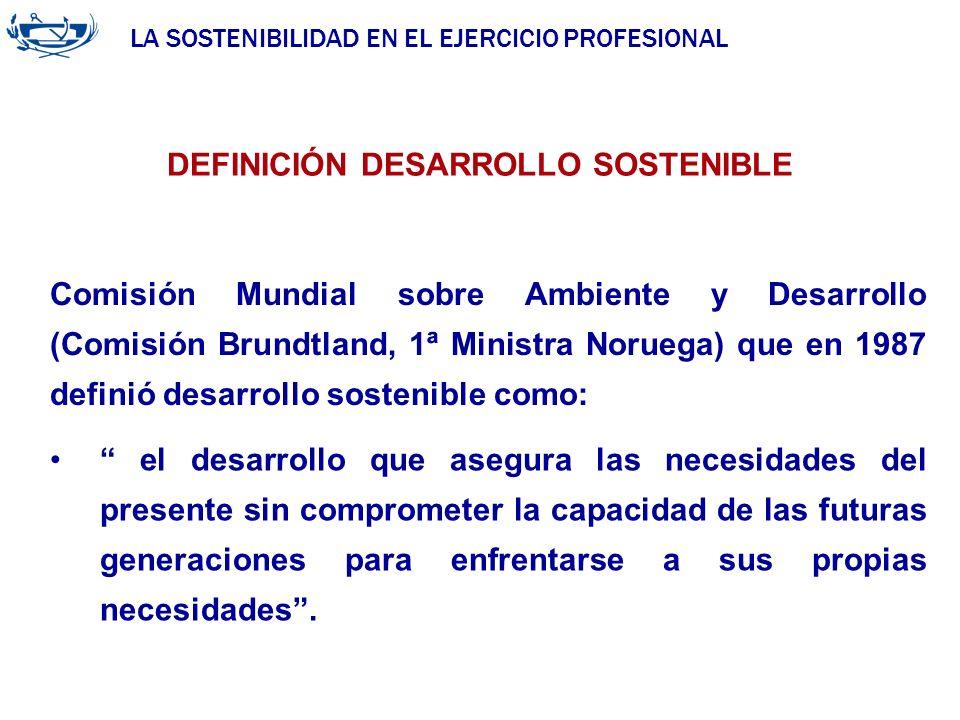 LA SOSTENIBILIDAD EN EL EJERCICIO PROFESIONAL ACUERDO DE LA INGENIERÍA 29/06/2007 Comisión Mundial sobre Ambiente y Desarrollo (Comisión Brundtland, 1