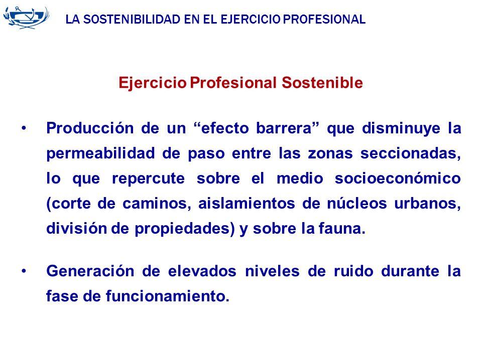 LA SOSTENIBILIDAD EN EL EJERCICIO PROFESIONAL ACUERDO DE LA INGENIERÍA 29/06/2007 Ejercicio Profesional Sostenible Producción de un efecto barrera que