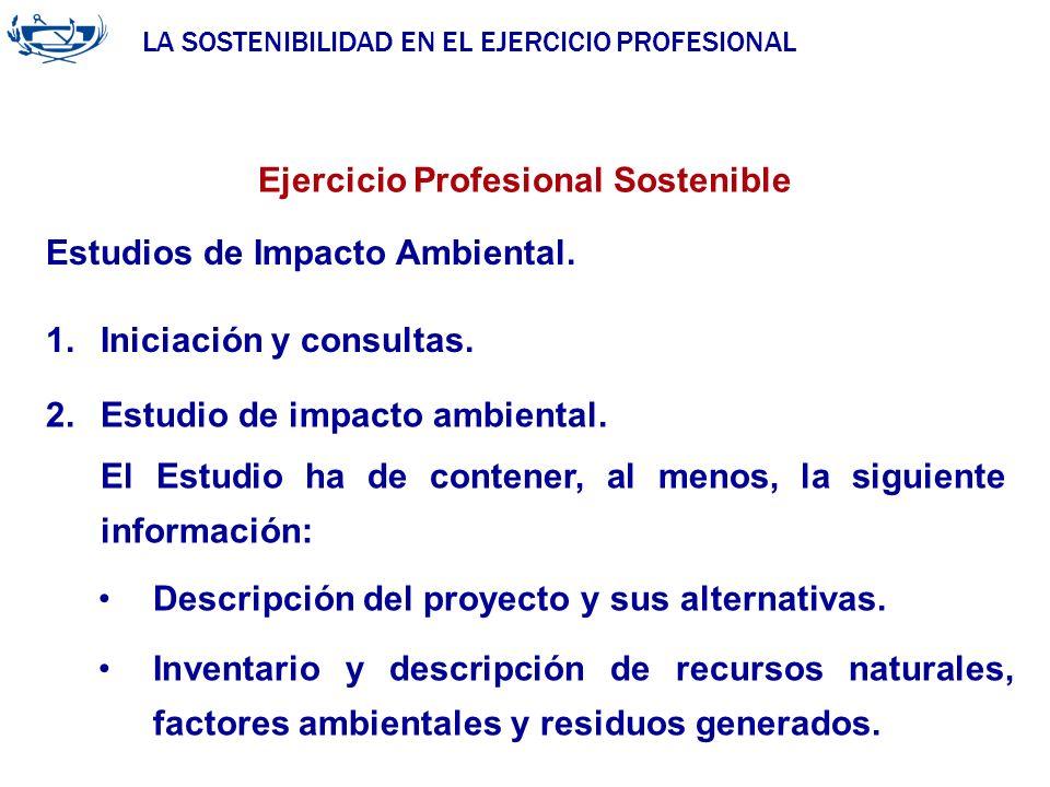 LA SOSTENIBILIDAD EN EL EJERCICIO PROFESIONAL ACUERDO DE LA INGENIERÍA 29/06/2007 Ejercicio Profesional Sostenible Estudios de Impacto Ambiental. 1.In