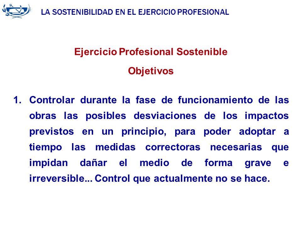 LA SOSTENIBILIDAD EN EL EJERCICIO PROFESIONAL ACUERDO DE LA INGENIERÍA 29/06/2007 Ejercicio Profesional Sostenible Objetivos 1.Controlar durante la fa