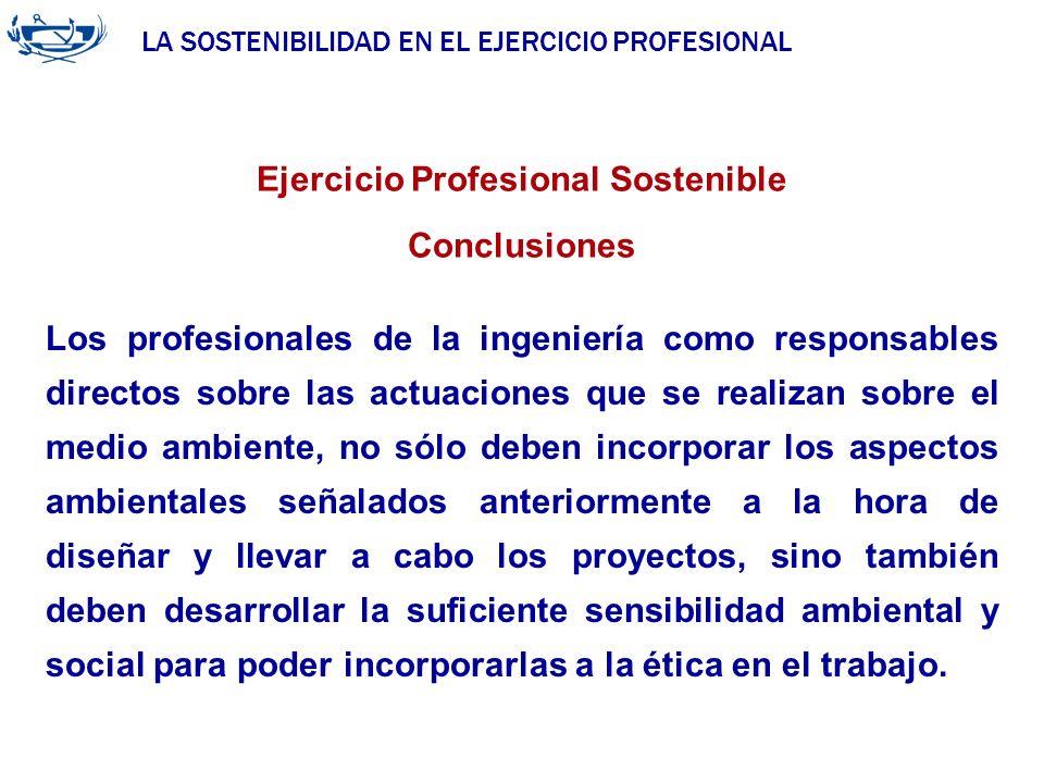 LA SOSTENIBILIDAD EN EL EJERCICIO PROFESIONAL ACUERDO DE LA INGENIERÍA 29/06/2007 Ejercicio Profesional Sostenible Conclusiones Los profesionales de l