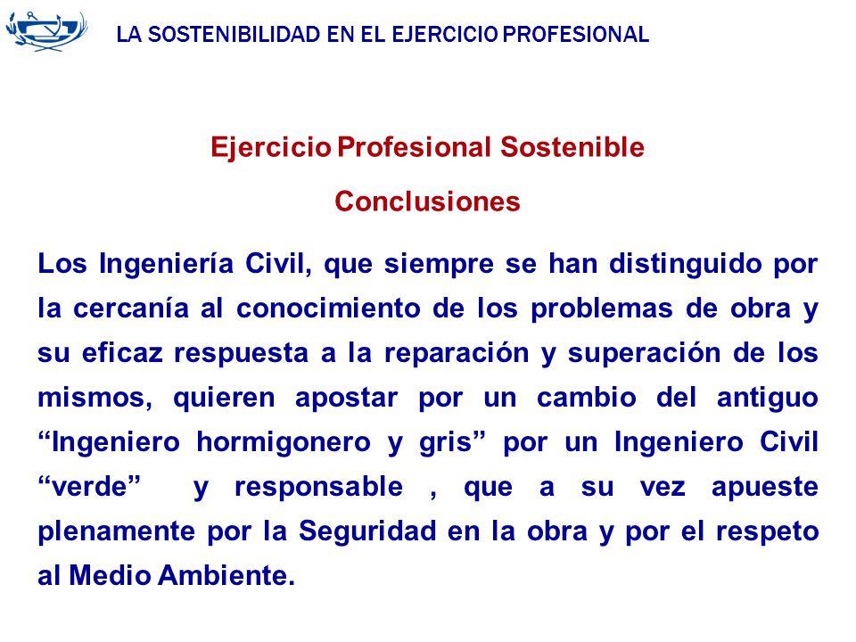 LA SOSTENIBILIDAD EN EL EJERCICIO PROFESIONAL ACUERDO DE LA INGENIERÍA 29/06/2007 Ejercicio Profesional Sostenible Conclusiones Los Ingeniería Civil,