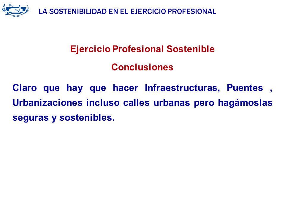 LA SOSTENIBILIDAD EN EL EJERCICIO PROFESIONAL ACUERDO DE LA INGENIERÍA 29/06/2007 Ejercicio Profesional Sostenible Conclusiones Claro que hay que hace