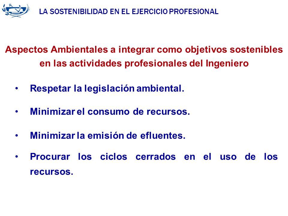 LA SOSTENIBILIDAD EN EL EJERCICIO PROFESIONAL ACUERDO DE LA INGENIERÍA 29/06/2007 Respetar la legislación ambiental. Aspectos Ambientales a integrar c