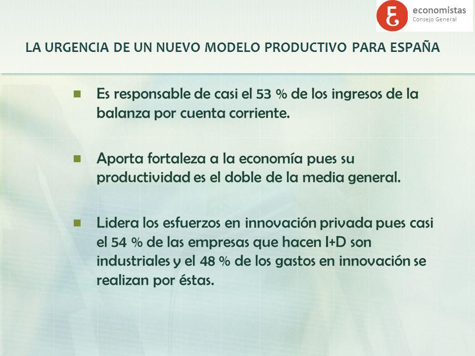 economistas Consejo General LA URGENCIA DE UN NUEVO MODELO PRODUCTIVO PARA ESPAÑA Es responsable de casi el 53 % de los ingresos de la balanza por cue