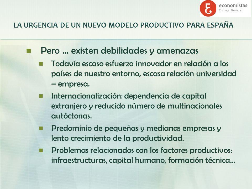economistas Consejo General LA URGENCIA DE UN NUEVO MODELO PRODUCTIVO PARA ESPAÑA Pero … existen debilidades y amenazas Todavía escaso esfuerzo innova