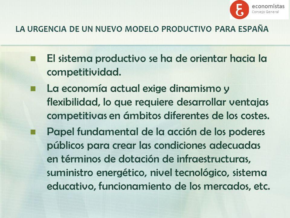 economistas Consejo General LA URGENCIA DE UN NUEVO MODELO PRODUCTIVO PARA ESPAÑA El sistema productivo se ha de orientar hacia la competitividad. La
