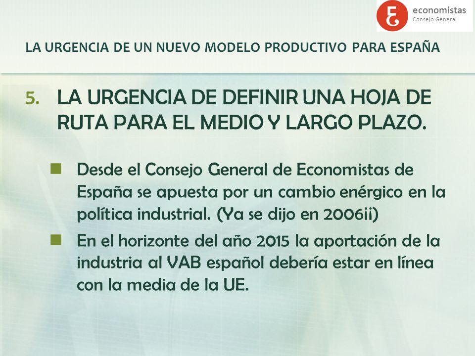 economistas Consejo General LA URGENCIA DE UN NUEVO MODELO PRODUCTIVO PARA ESPAÑA 5.LA URGENCIA DE DEFINIR UNA HOJA DE RUTA PARA EL MEDIO Y LARGO PLAZ