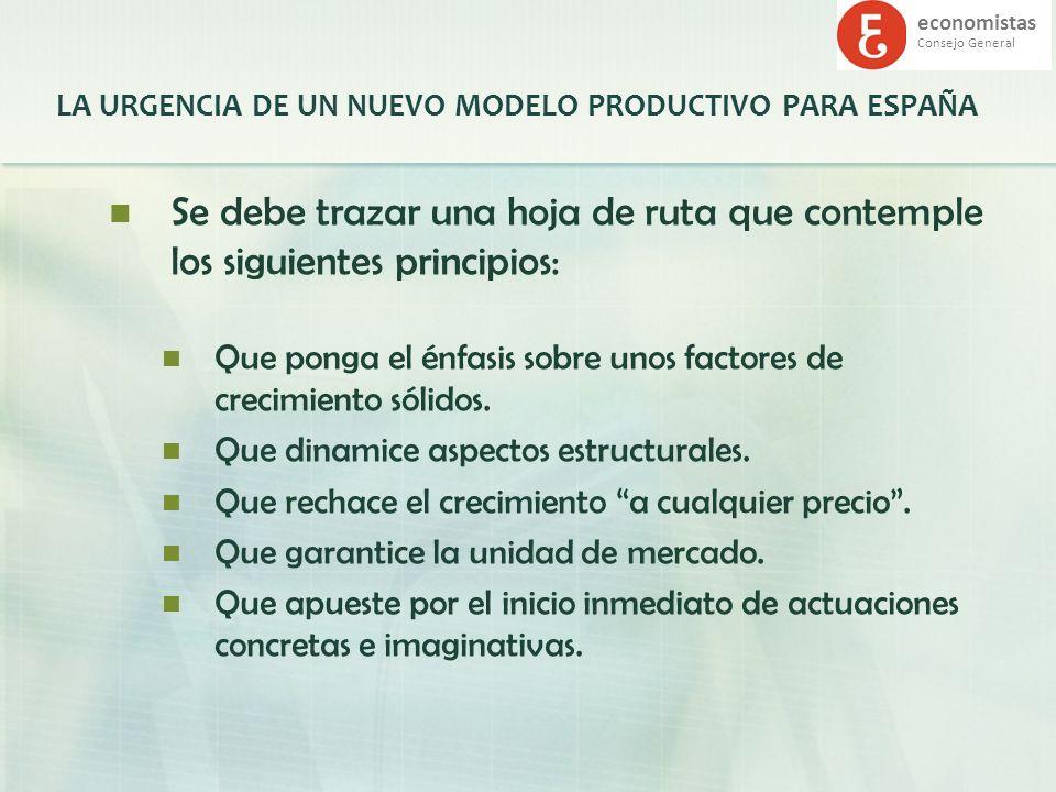 economistas Consejo General LA URGENCIA DE UN NUEVO MODELO PRODUCTIVO PARA ESPAÑA Se debe trazar una hoja de ruta que contemple los siguientes princip