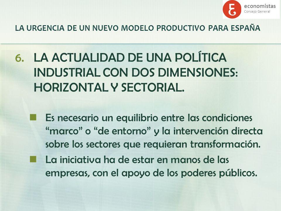 economistas Consejo General LA URGENCIA DE UN NUEVO MODELO PRODUCTIVO PARA ESPAÑA 6.LA ACTUALIDAD DE UNA POLÍTICA INDUSTRIAL CON DOS DIMENSIONES: HORI