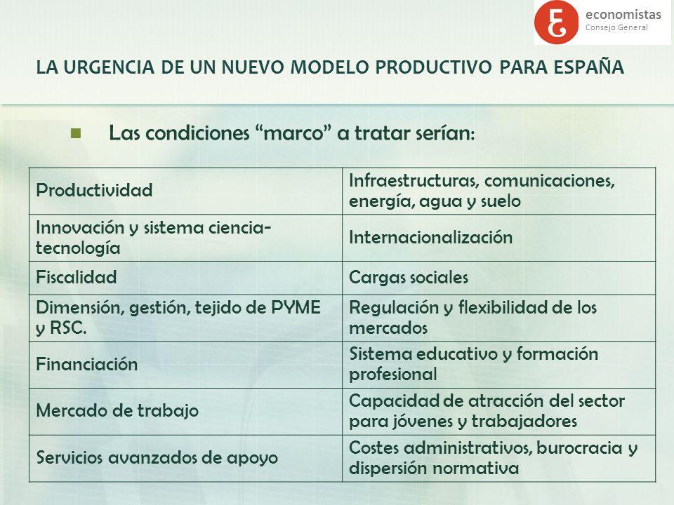 economistas Consejo General LA URGENCIA DE UN NUEVO MODELO PRODUCTIVO PARA ESPAÑA Las condiciones marco a tratar serían: Productividad Infraestructura