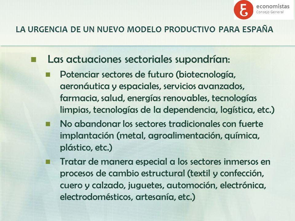 economistas Consejo General LA URGENCIA DE UN NUEVO MODELO PRODUCTIVO PARA ESPAÑA Las actuaciones sectoriales supondrían: Potenciar sectores de futuro