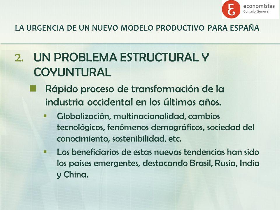 economistas Consejo General LA URGENCIA DE UN NUEVO MODELO PRODUCTIVO PARA ESPAÑA 2.UN PROBLEMA ESTRUCTURAL Y COYUNTURAL Rápido proceso de transformac