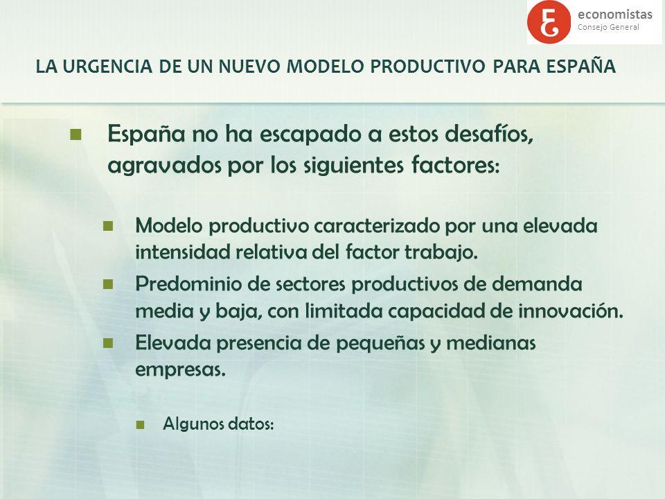 economistas Consejo General LA URGENCIA DE UN NUEVO MODELO PRODUCTIVO PARA ESPAÑA España no ha escapado a estos desafíos, agravados por los siguientes