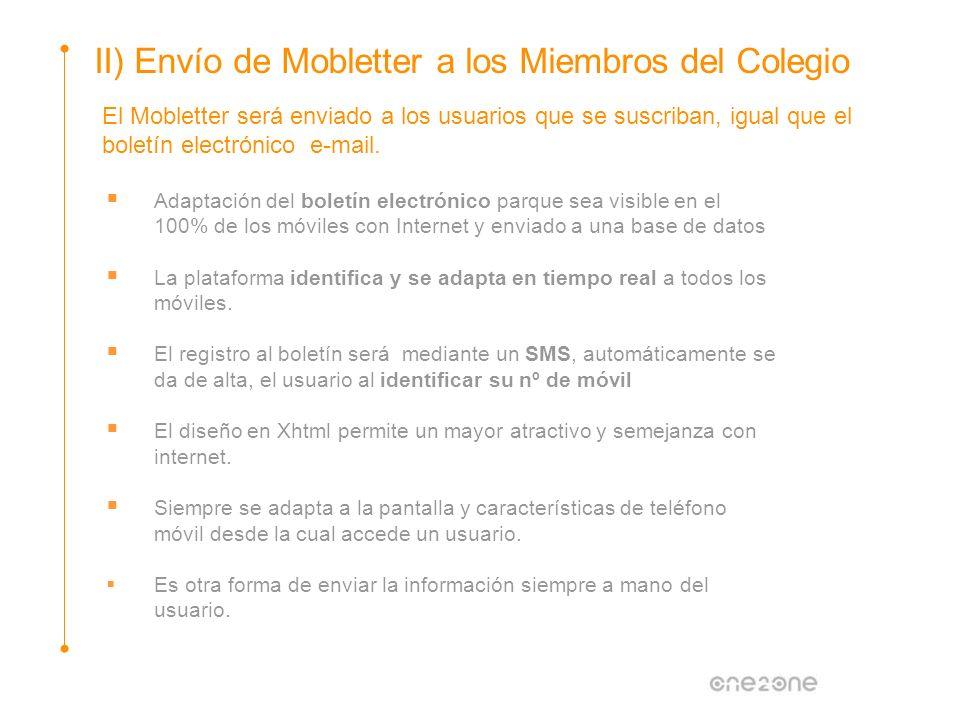 El Mobletter será enviado a los usuarios que se suscriban, igual que el boletín electrónico e-mail. Adaptación del boletín electrónico parque sea visi