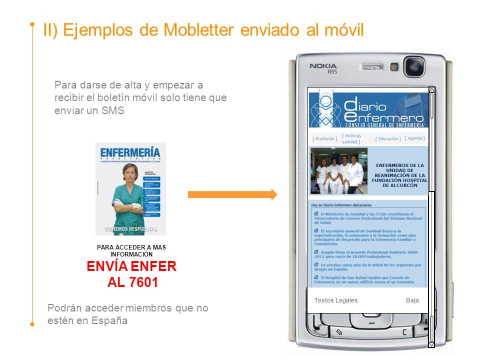 II) Ejemplos de Mobletter enviado al móvil Textos Legales Baja PARA ACCEDER A MAS INFORMACIÓN ENVÍA ENFER AL 7601 Para darse de alta y empezar a recib