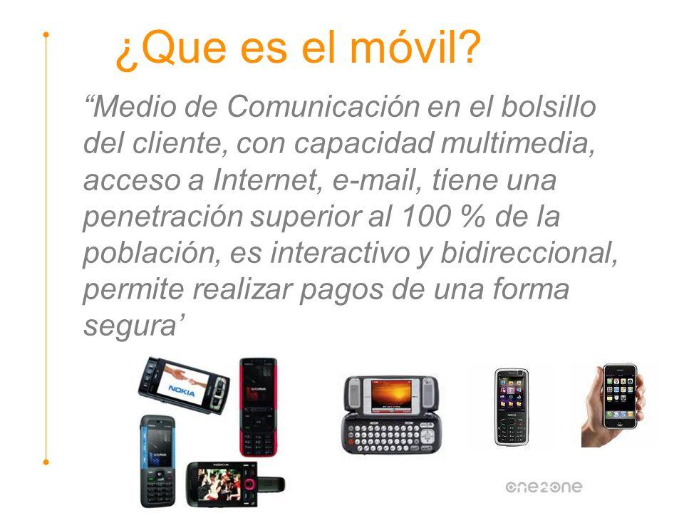 Medio de Comunicación en el bolsillo del cliente, con capacidad multimedia, acceso a Internet, e-mail, tiene una penetración superior al 100 % de la p