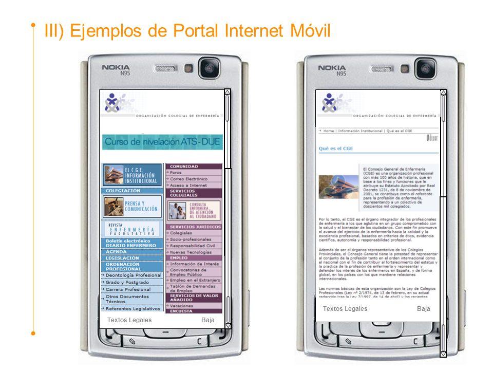 III) Ejemplos de Portal Internet Móvil Textos Legales Baja