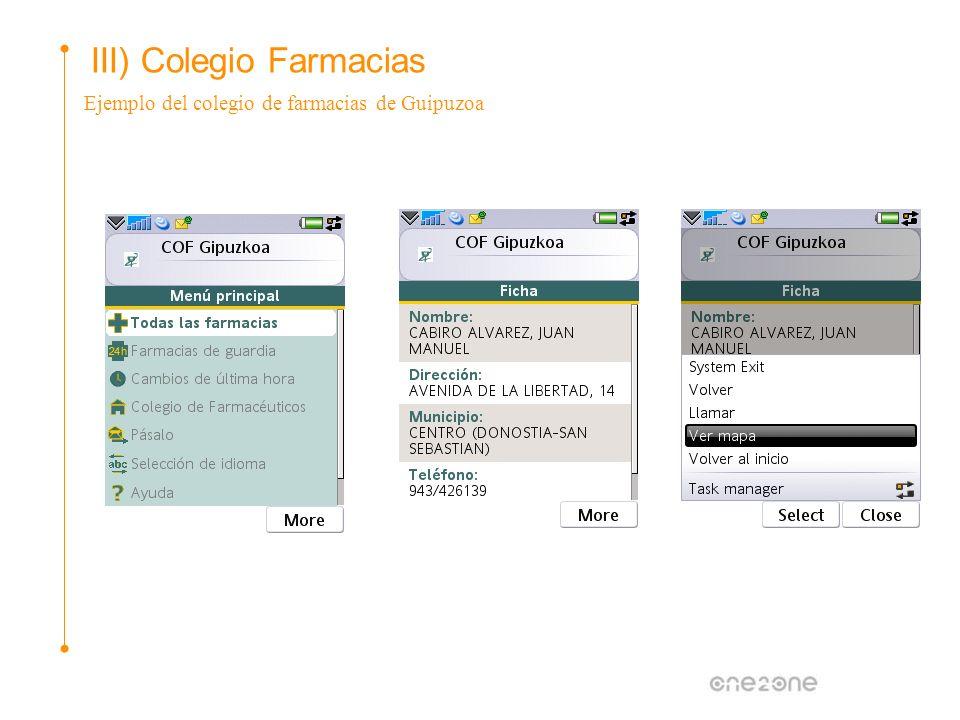 III) Colegio Farmacias Ejemplo del colegio de farmacias de Guipuzoa