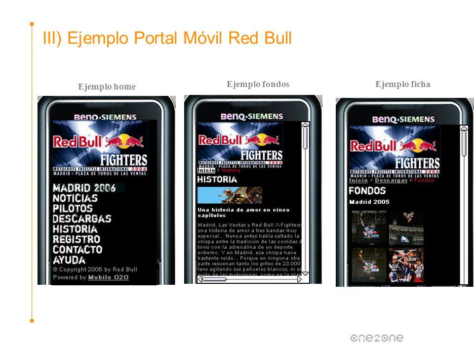 Ejemplo home III) Ejemplo Portal Móvil Red Bull Ejemplo fondosEjemplo ficha