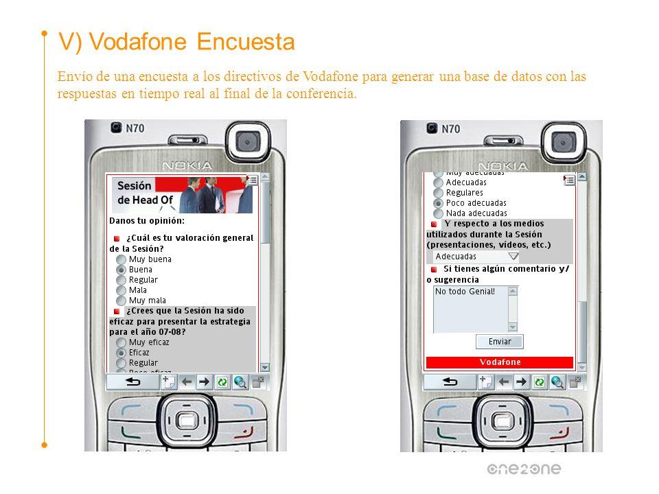 V) Vodafone Encuesta Envío de una encuesta a los directivos de Vodafone para generar una base de datos con las respuestas en tiempo real al final de l