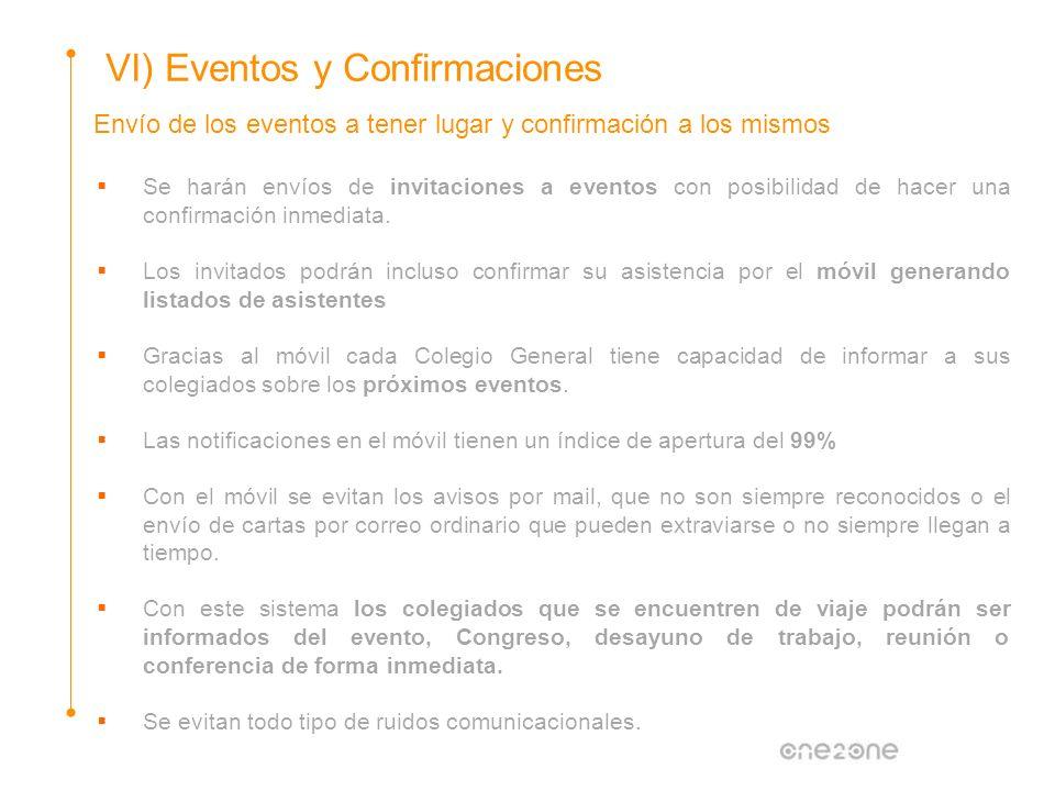 Envío de los eventos a tener lugar y confirmación a los mismos VI) Eventos y Confirmaciones Se harán envíos de invitaciones a eventos con posibilidad