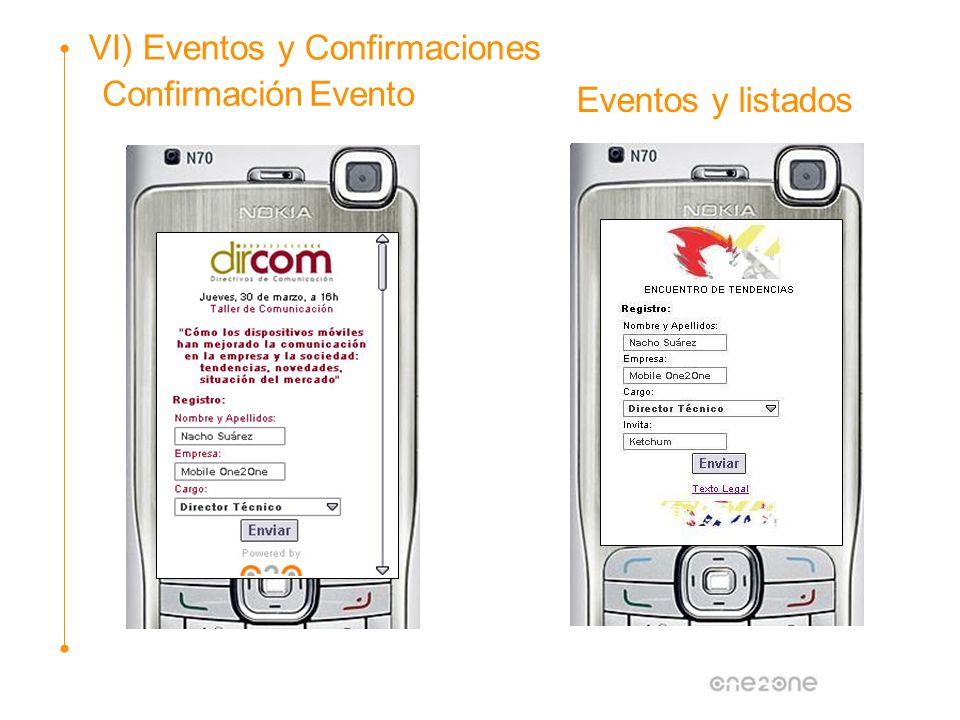 Confirmación Evento Eventos y listados VI) Eventos y Confirmaciones