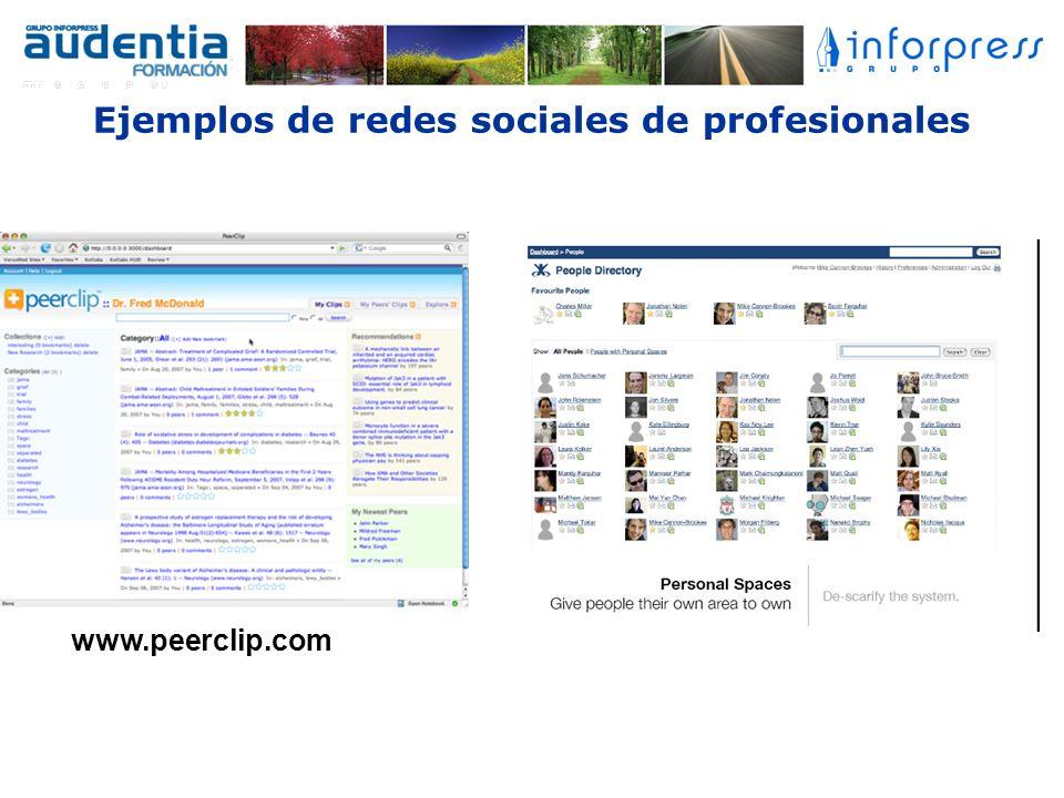 Ejemplos de redes sociales de profesionales www.peerclip.com